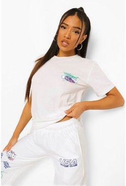 White Petite Motorsport Front & Back Print T-shirt