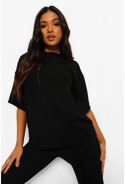 Petite Seam Detail Oversized T-shirt , Black schwarz