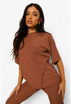 Petite Seam Detail Oversized T-shirt , Chocolate marron