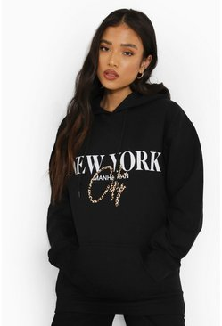 Petite - Sweat à capuche léopard oversize New York, Black noir
