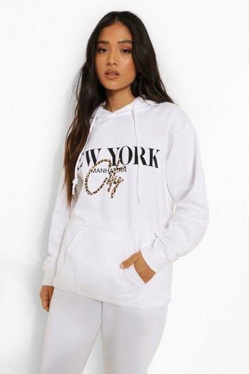 White Petite New York Leopard Print Oversize Hoodie