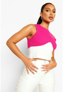 Hot pink pink Contrast Rib Knit Corset Top