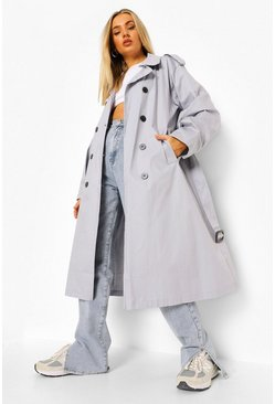 Silver grey grey Balloon Sleeve Oversized Trench Coat