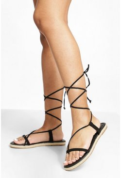 Strappy Espadrille Wrap Up Sandal, Black negro