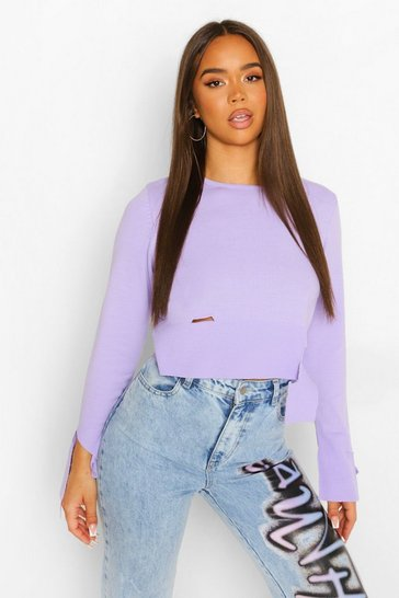 Lilac purple Distressed Hem Fine Gauge Jumper