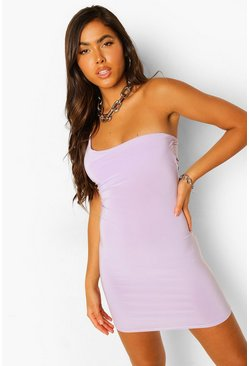Lilac purple One Shoulder Strappy Back Mini Dress