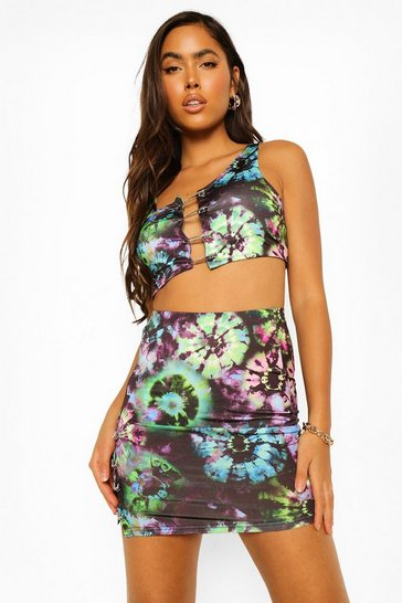 Black Diamante Trim Tie Dye Co-ord