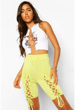 Lime green Lace Up Cycling Shorts