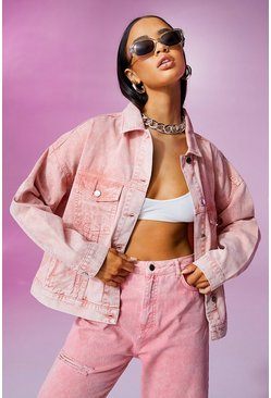 Peach orange Oversized Pastel Wash Denim Jacket