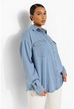 Light blue Lace Up Side Oversized Denim Shirt