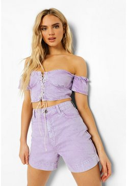 Lilac purple Acid Wash Denim Boyfriend Shorts