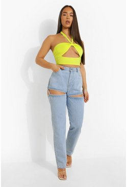 Light blue Straight Jeans With Cut Out Suspender Detail