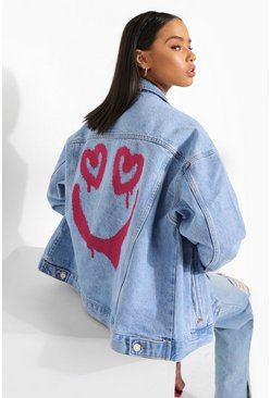 Light wash blue Smile Printed Oversized Denim Jacket
