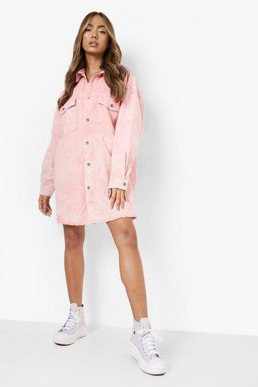 Pink Pastel Wash Frayed Hem Denim Shirt Dress
