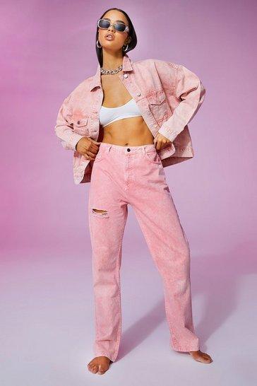 Pink Thigh Rip Pastel Wash Straight Leg Jeans