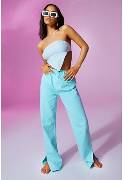 Turquoise blue High Waist Pastel Wash Split Hem Jean