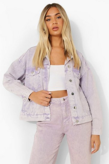 Lilac purple Oversized Pastel Wash Denim Jacket