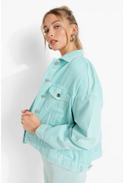 Turquoise blue Oversized Pastel Wash Denim Jacket