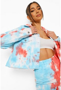 Light blue blue Tie Dye Cropped Denim Jacket