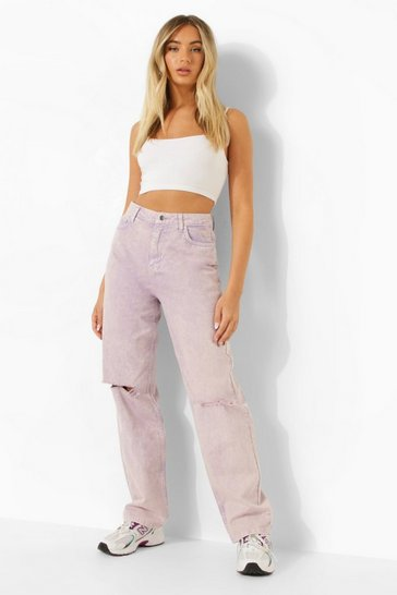 Lilac purple Busted Knee Pastel Wash Boyfriend Jean