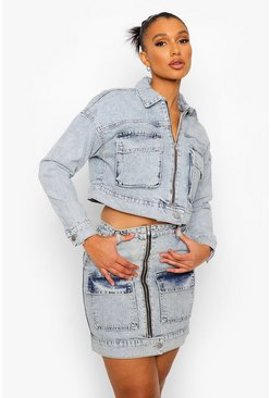 Ice blue Acid Wash Zip Through Denim Skirt