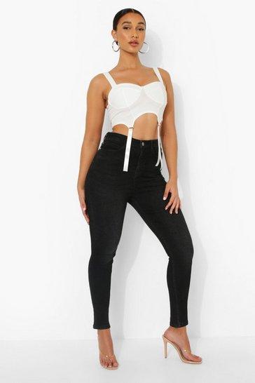 Black 5 Pocket High Waist Skinny Jeans
