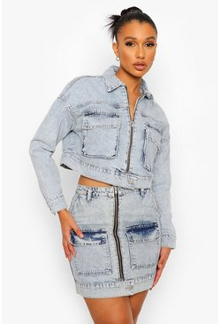 Ice blue Cropped Acid Wash Denim Jacket