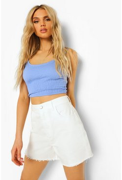 White High Waist Raw Hem Boyfriend Denim Shorts