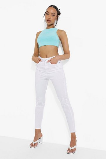 White 5 Pocket High Waist Skinny Jeans