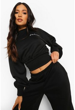 Black Petite Woman Crop Sweatshirt, Черный Чёрный