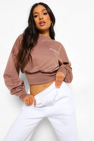 Chocolate brown Petite Woman Crop Sweatshirt