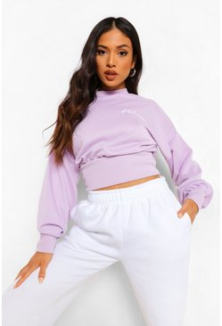 Purple Petite Woman Crop Sweatshirt, Лиловый Фиолетовый