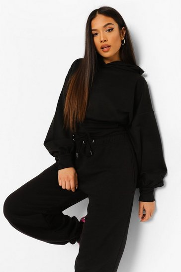 Black Petite Crop Balloon Sleeve Hoody