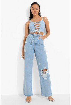 Light blue blue Sterrenprint Boyfriend Jeans Met Studs