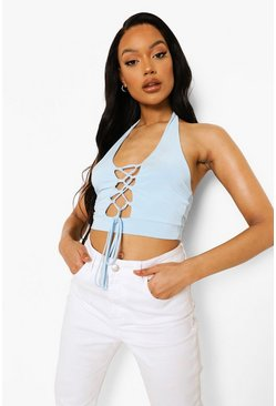 Blue Lace Up Cami Crop Top
