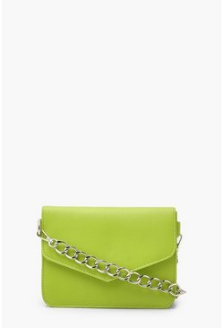 Lime green Chain Strap Cross Body Bag