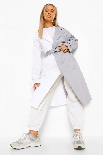 Ash grey Colour Block Belted Trench Coat