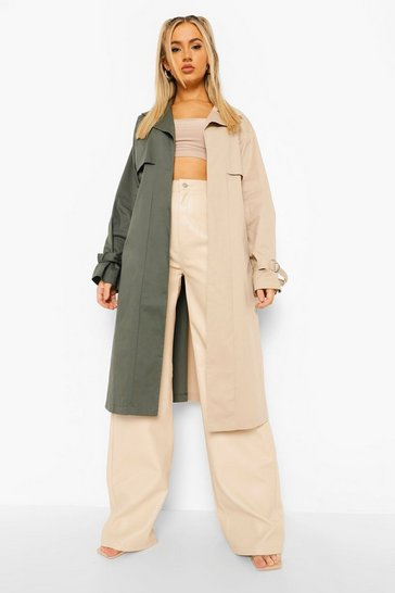 Khaki Colour Block Belted Trench Coat