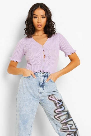 Lilac purple Pointelle Crop Cardigan