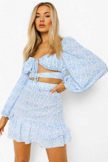 Blue Floral Cut Out Ruffle Skirt Co-ord