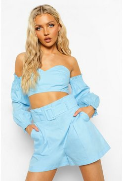 Bright blue blue Cotton Bardot Top And Belted Short Co-ord