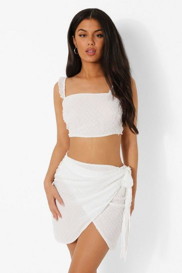 White Dobby Ruffle Strap Top And Skirt Co-ord
