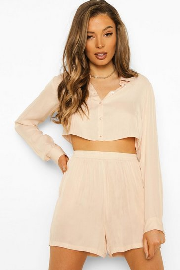 Champagne beige Satin Cropped Shirt And Short Co-ord