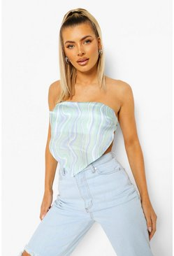 Blue Satin Printed Tube Top