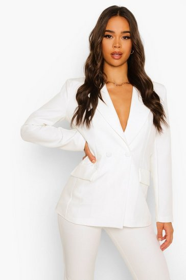 Ivory white Plunge Tailored Fitted Blazer