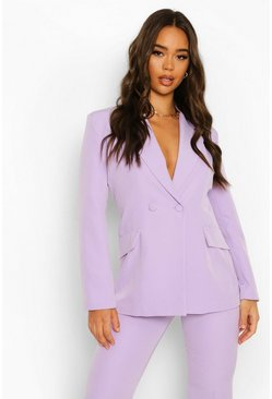 Plunge Blazer & Flared Trouser Suit Set