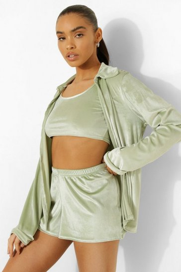 Sage green Velour Shirt, Crop & Shorts