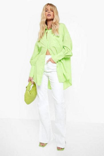White Wide Leg Split Hem Jeans