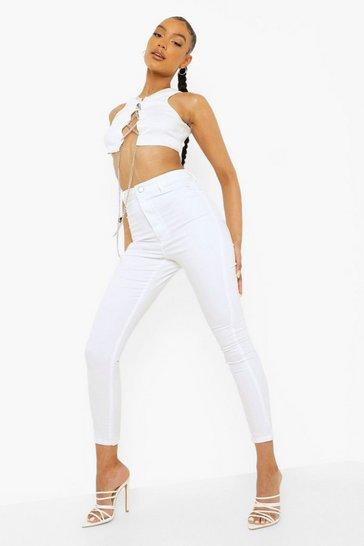 White High Rise Disco Jean