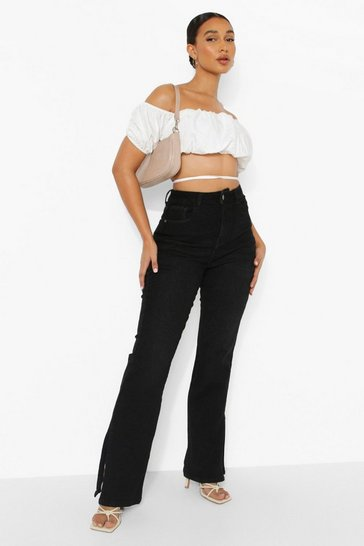 Black Wide Leg Split Hem Jeans